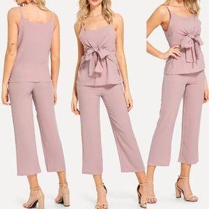 🆕Tie bow front Cami & Capri pants set
